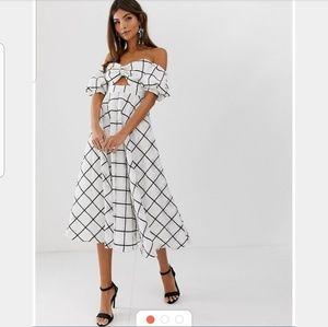 ASOS EDITION Midi Puff Sleeve Keyhole Dress Sz 8